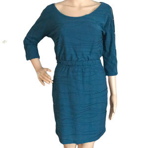GUESS Textured Dress Button Sleeves Teal 2